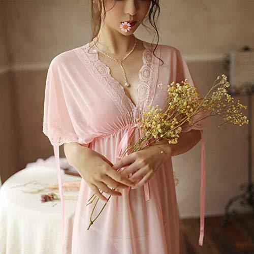 Schlafanzug Damen,Sexy Pyjama Frauen Sommer Transparente Mesh Hosenträger Sexy Lose XL Bett Versuchung Nachthemd-155 (S)_Pink