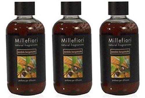 Millefiori Milano Recharge Parfums d'ambiance parfum santal Bergamote 250 ml série Natural 3 Packs – Recharge pour diffuseur de parfum à bâtonnets.