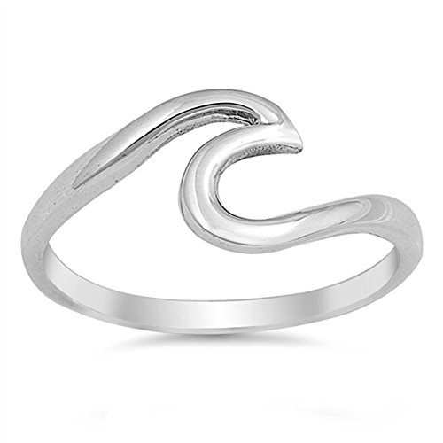 Wave Polished Cute Fashion Ring New .925 Sterling Silver Toe Band Size 8