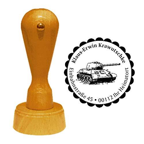 Stempel Adressstempel « PANZER 01 » Durchmesser ca. Ø 40 mm - mit persönlicher Adresse, Motiv und Zierrand - Kampffahrzeug