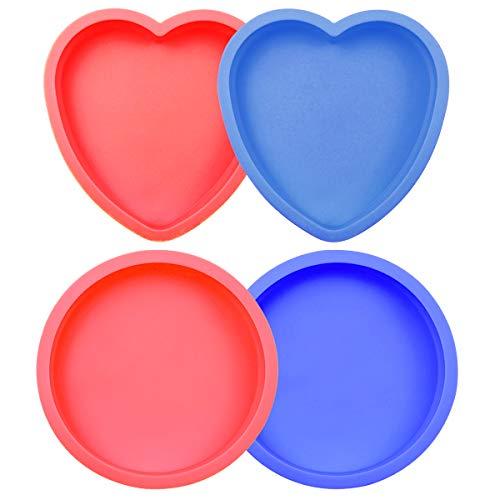 Zuzer Molde de Pastel de Silicona, 4pcs Molde Redondo de Silicona Forma de Corazon Moldes para Hornear(Rojo Azul)