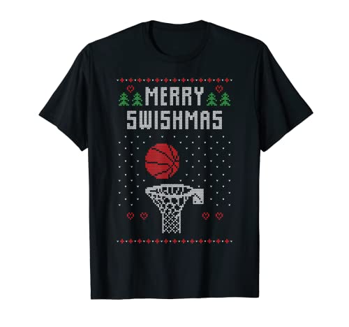 Ugly Christmas Sweater Jugar Baloncesto Dunking Navidad Camiseta