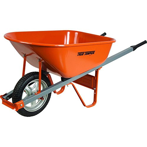 Wheelbarrow 6 Cu. Ft. With Tough Steel Handles and Flat Free Tire
