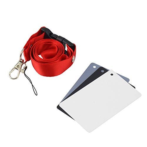 3-in-1-Digitalkamera im Taschenformat 18{37567c9b8379a791226fc7606933772b61d6152958b5921023077365e3094aa2} Weiß Schwarz Grau Balance-Karten mit Umhängeband für Digitalfotografie - Weiß