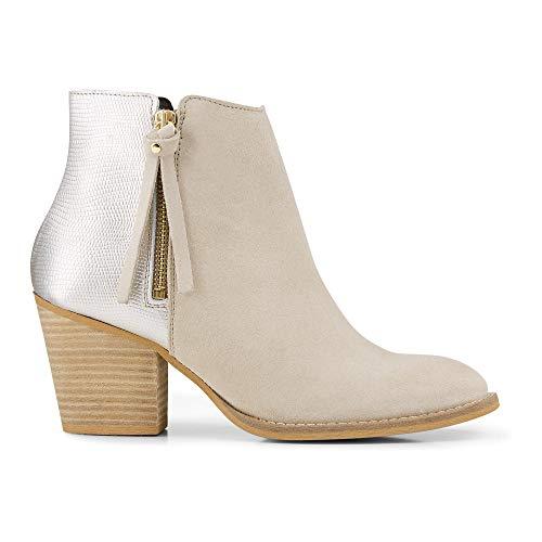 Cox Damen Damen Fashion-Stiefelette aus Leder, Ankle-Boots in Beige mit Metallic-Rückseite und...