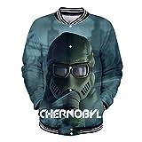 Chernobyl Pullover Versin Coreana Creativa Cierre de Cremallera Sudadera Sudadera de Manga Larga Top Camiseta de Entrenamiento para Hombre (Color : A05, Size : XXXL)