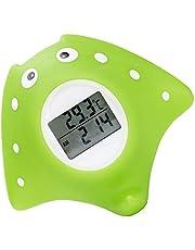 Termómetro de Baño Bebé,Termómetro Bañera Bebé,Termometro Agua Bebe digital, con Alarma de Advertencia LED, Función de Reloj y Temporizador, en Forma de Pez,Verde
