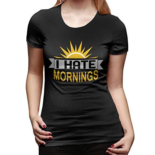 WoodWorths I Hate Mornings Women's Short Sleeve T Shirt Tees Sport Summer(Medium,Black)