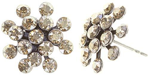 KONPLOTT Magic Fireball Mini Ohrstecker für Damen | Exklusive Designer-Ohrringe mit 32 Swarovski Steinen | Glamouröser Ohrschmuck passend zu jedem Anlass | Handgefertigter Damen-Schmuck | Beige