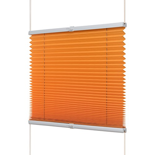 Ventanara Plissee Ohne Bohren Orange Klemmfix Plisseerollo Faltrollo Verspannt Inklusive Premium Klemmträger 80 x 130 cm