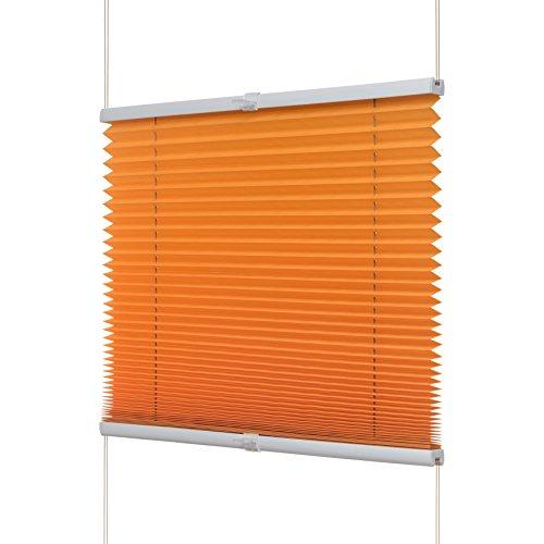 Ventanara Plissee ohne Bohren Orange Klemmfix Plisseerollo Faltrollo verspannt inklusive Premium Klemmträger 70 x 130 cm