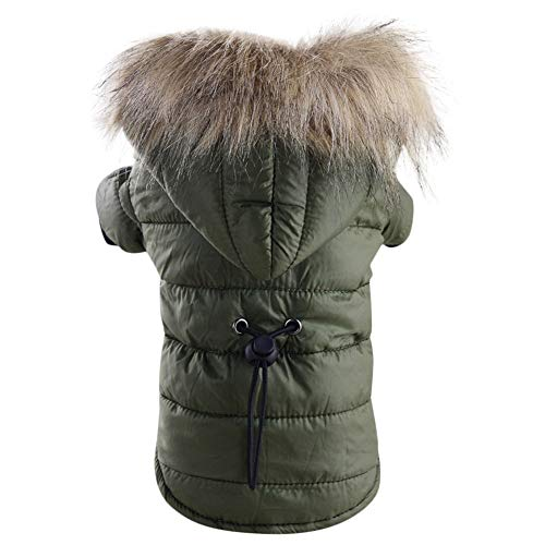 Pet Snowsuit Windproof Faux Fur Puppy Parka Coat Adjustable Dog Winter Jacket with Hood Dog Warm Outwear Dog (Army Green, S)