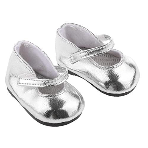 Ohomr 1 par Miniatura metálico Brillante de Plata de la muñeca Zapatos ataques 18 En Adorable Muchacha de la muñeca