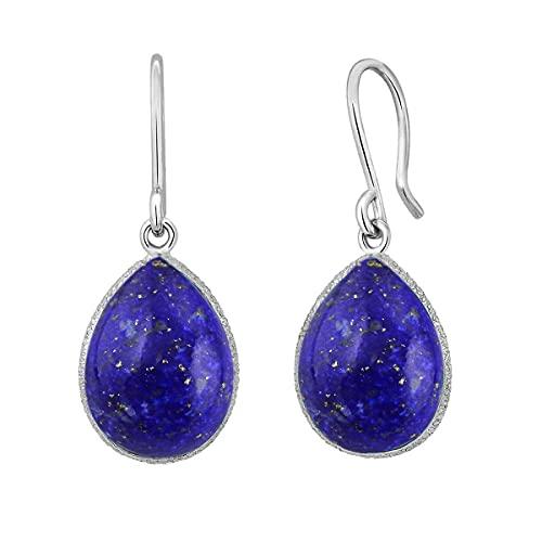 CaratYogi plata de ley 925 plata de ley pera Blue Lapislázuli natural