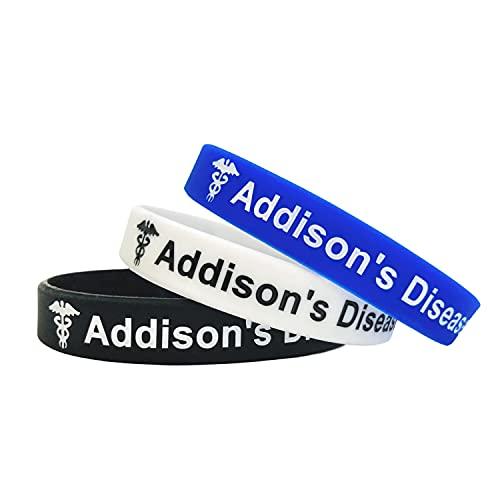 Addisons Complementos - Juego de 3 Negro Blanco Azul Pulseras para alerta médica de emergencia para Hombre y Mujer de Butler & Grace.
