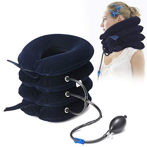 Essort Dispositivo De Tracción Cervical Inflable Cabeza de Cuello para aliviar el Dolor de Cuello y Hombros, Tracción de Alivio del Dolor con Inflado Ajustable