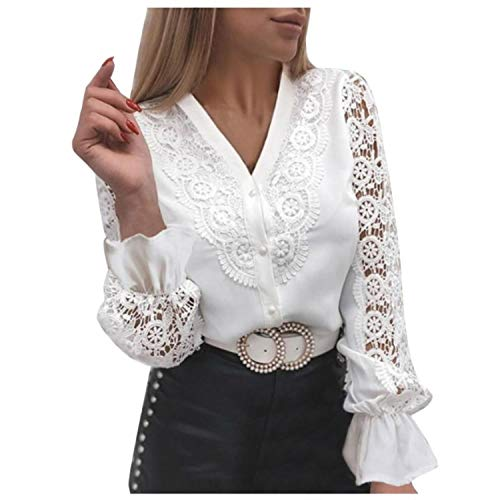 Women Lace Tops Blouses Ladies Office Patchwork Shirts Spring Elegant Long Sleeves Shirt Tops Button Design Blusa 2021 C18