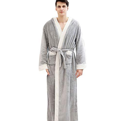 JIN Morgenmantel Unisex Männer Frauen in voller Länge Flauschigen Bademantel mit Kapuze Roben Plüschschal Bademantel Nachtwäsche Spa Robe für den Winter,H-M