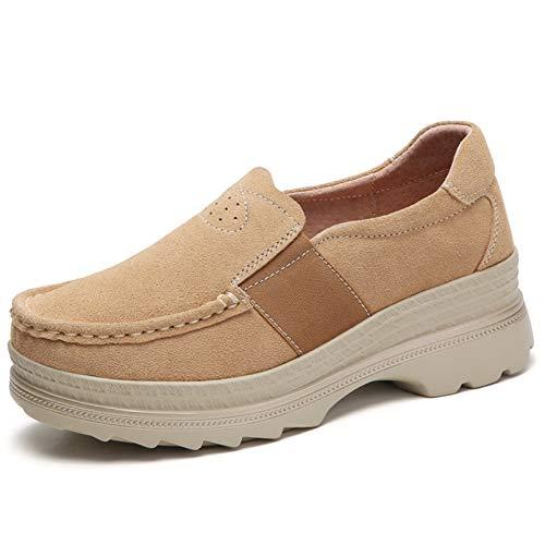 Zapatos Gruesos para Mujer, Deslizamiento Inferior Suave al Aire Libre, Primavera otoño, Zapatillas de Deporte Resistentes al Desgaste, para Caminar, Retro, Zapatos de cuña para Mujer