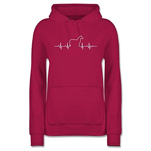 Pferde - Herzschlag Pferd - S - Fuchsia - Pferde mädchen Sweatshirt - JH001F - Damen Hoodie und Kapuzenpullover für Frauen