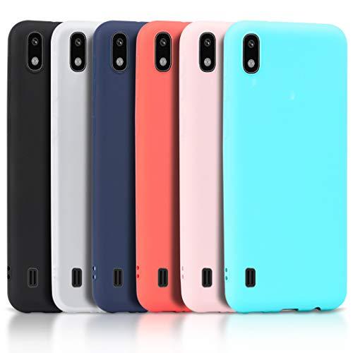 Wanxideng - 6x Cover per Samsung Galaxy A10, Custodia Morbido Opaco in Silicone TPU - Matt Silicone Case [ Nero + Rosso + Blu Scuro + Rosa + Verde Menta + Traslucido ]
