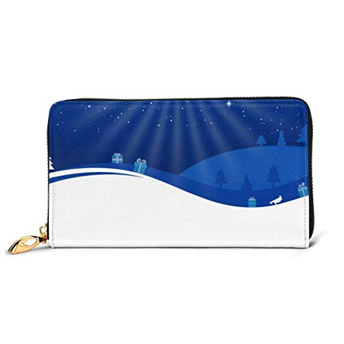 Christmas Moon Deer Large Capacity Zip Around Slim Billfold PU Leather Wallet Card Holders for Men Women Boy Girl