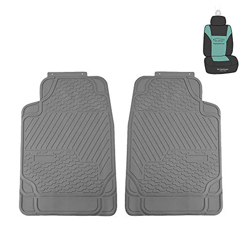 FH Group F11309 Heavy Duty Trimmable Rubber All Weather Floor Mats (Gray) Front Set w. Gift - Universal Fit for Cars Trucks and SUVs