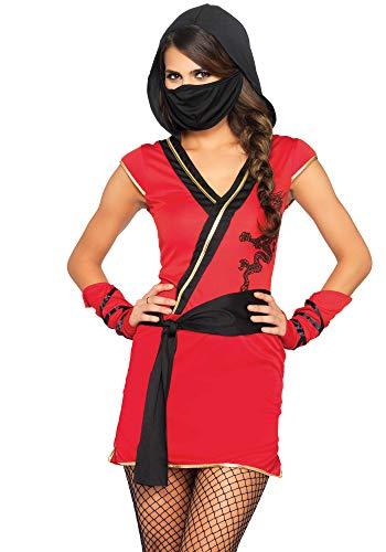 Wonderland- Mystic Ninja Mujer, Color Rojo, Negro, Small (EUR34-36) (LegAvenue 8402981034425)