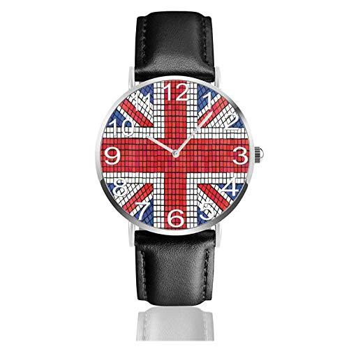 Reloj de Pulsera Bandera británica del Reino Unido Correa de Cuero PU Duradera Relojes de Negocios de Cuarzo Reloj de Pulsera Informal Unisex