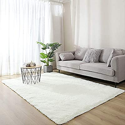 Area Rug, Soft Fluffy Bedroom Rug, Carpet Rug for Living Room, Home, Kids Room Décor (3.2x5.2ft, Creamy White)