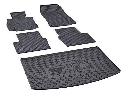 Kofferraumwanne und Gummifußmatten passgenau geeignet für Mazda CX-3 ab 2015 Farbe Schwarz + Gurtschoner