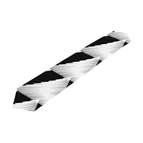 Bennigiry Noir et Blanc Rayures Polyester Chemin de Table Set de Table 33 x 177,8 cm, Noir et Blanc Rayures Nappe pour Décoration de Cuisine, Polyester, Multicolore, 13x90(in)