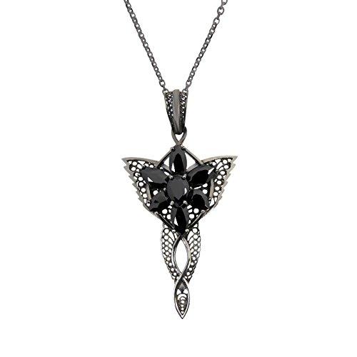 Elbenwald Herr der Ringe Arwens Abendstern Filigran schwarz mit Collierkette Dark Years Collection 925 Silber