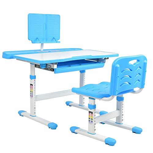 EBTOOLS Kindertisch mit Stuhl, Kinderschreibtisch Schülerschreibtisch Kindermöbel mit Ausziehbare Schubladen, Höhenverstellbar und Neigungsverstellbar (Blau)