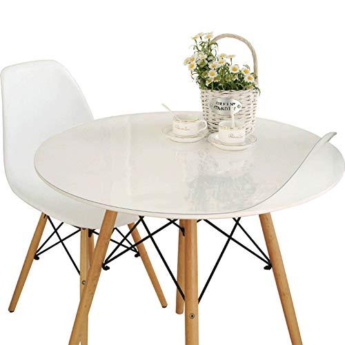 TTJJ PVC Mantel, Transparente Impermeable Antimanchas Mantel Mesa Fácil de Limpiar Plástico Redondo Protector Adecuado para Mesa de Comedor Suelo Muebles-Grueso: 1.5mm-diámetro:110cm(43pulgada)