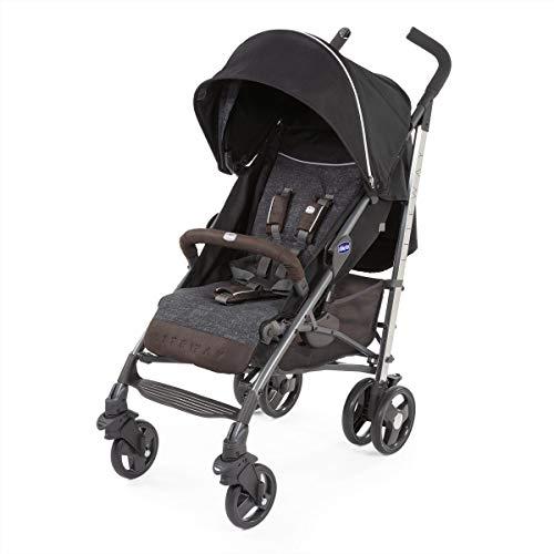 Chicco Liteway 3 - Silla de paseo ligera y compacta, soporta hasta 22kg, color negro vaquero y ecopiel (Intrigue)