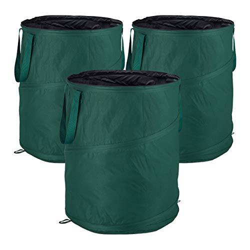 Relaxdays, grün Laubsack selbstaufstellend, 3er-Set, Gartenabfallsack Pop-Up, 160 L, Gartensack selbststehend, ∅: 55 cm