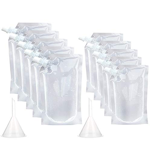 20 Pieces Plastic Flasks Reusable Liquor Drink Juice Pouches with Spout Concealable Drinking Flasks Bags Adults Sneak Alcohol Water Bottle 250ml & 350ml with Funnel