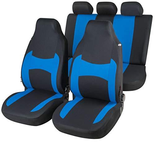 CarComfort Komplett Set modische Universal Highback KFZ Schonbezüge Fairmont blau waschbar, 2 Vordersitze + Rücksitzbezug