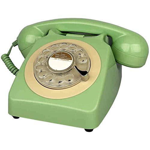 TRTT Teléfono Fijo con Cable de diseño Retro de línea Fija Retro Europea clásica - Teléfono de la Bobina de la Oficina en casa de la Mesa de Escritorio del Estilo del dial Giratorio de la vendimi