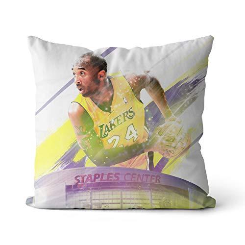 Cojín para abrazar Kobe Bryant Basketball Gran Jugador, impresión 3D, cojín para silla, decoración de cama, algodón y lino, cuadrado, OR1573, 35 x 35 cm