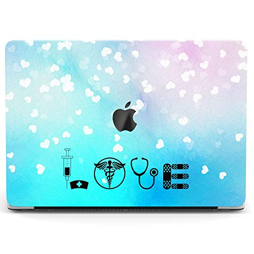 Wonder Wild Case for MacBook Air 13 inch Pro 15 2019 2018 Retina 12 11 Apple Hard Mac Protective Cover Touch Bar 2017 2016 2020 Plastic Laptop Print Medicine Pattern Blue Love Quote Heart Doctor Pink