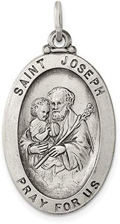 925 Sterling Silver Saint Joseph Medal Pendant Charm Necklace Religious Patron St Fine Jewelry product image
