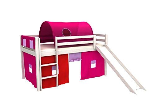 Cama de juego,cama para niños,de alta,cama con tobogan,tunel,cortinas,colchon