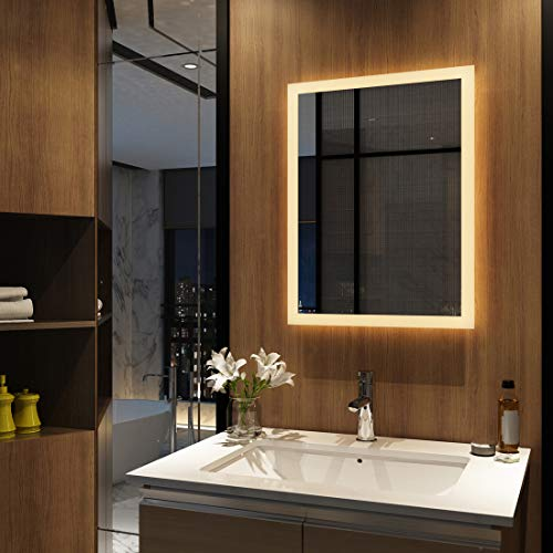 Meykoers Wandspiegel Badezimmerspiegel LED Badspiegel mit Beleuchtung 50x70cm Warmweiß 3000K, Spiegel mit Beleuchtung Lichtspiegel ohne Schalter