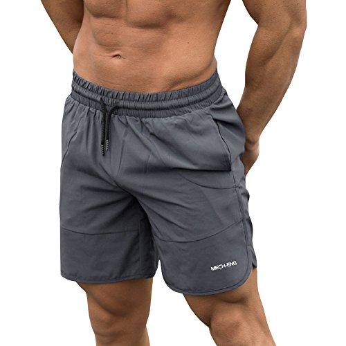 トレーニングウェア ハーフパンツ メンズ スポーツ 冷感 速乾 ショートパンツ サーフパンツ ショーツ 水着 UVカット グレー2XL [9124]