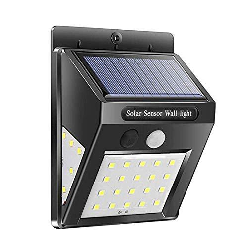 Impermeable 20 luces solares LED sensor de movimiento pared luz sensor jardín exterior patio lámpara negra