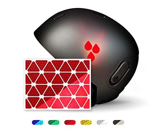 Dreiecke reflexsticker | 6 Farben zur Auswahl | Zwei Reflexions-Stärken (Classic Light und Pro) | 36 Stück | Reflektoren für Kinderwagen, Rollatoren, Fahrräder, Helme (pro-rot)