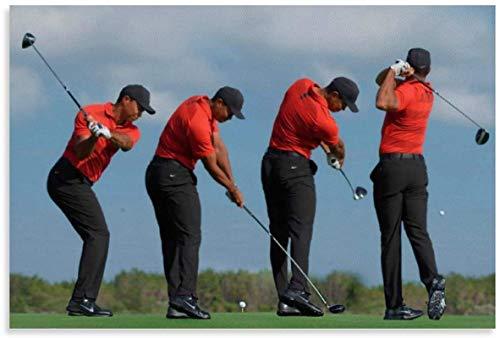 DCPPCPD Lienzos De Fotos 60 * 90cm Sin Marco Secuencia de Columpio Cartel de Tiger Woods Cartel Decorativo de Sala de Estar Pintura de Dormitorio