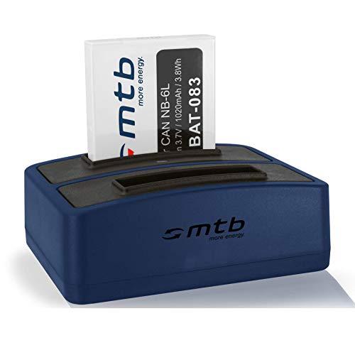 Batería + Cargador Doble (USB) NB-6L para Canon IXUS 85 IS, 95 IS / Powershot D10, D20, D30, SX260 HS, SX540 HS - v. Lista!